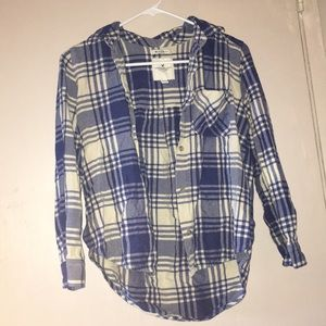 American Eagle Blue And White Flannel